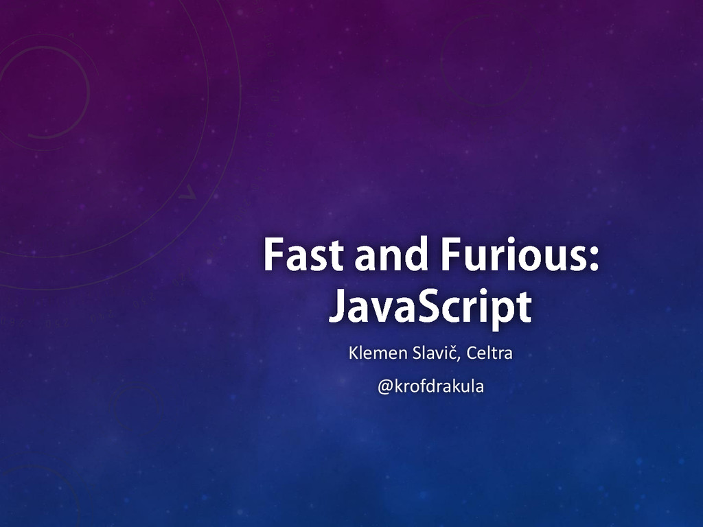 Fast and Furious: JavaScript title screen