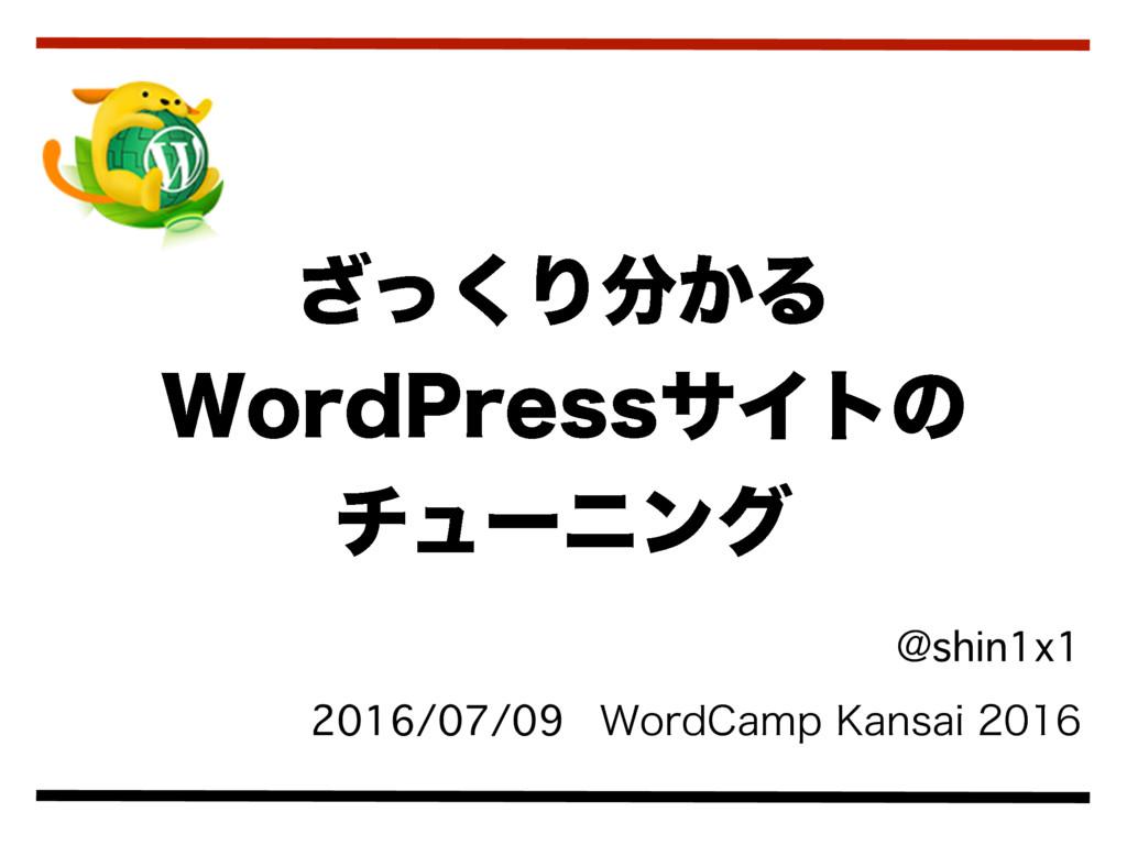 ざっくり分かる WordPress サイトのチューニング/speed-up-wordpress-site